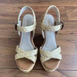 NWOT Altar'd State Straw Wedge Sandals